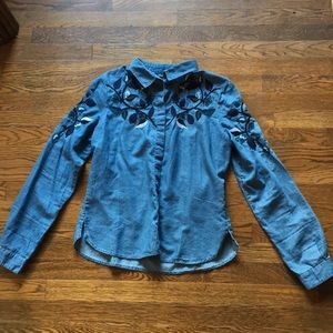 BDG Embroidered Chambray Button Down Shirt